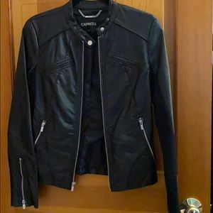 Leather jacket with silver hardware